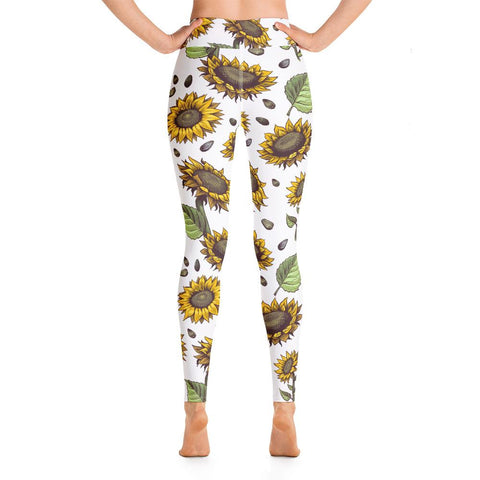 SunDawg Hand-drawn Sunflower Yoga Leggings