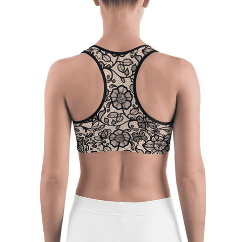 Image of SunDawg Lace Flowers Nude Sports bra