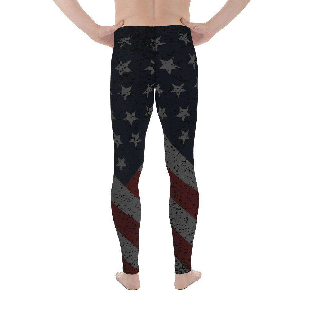 SunDawg Midnight American Flag Men's Leggings