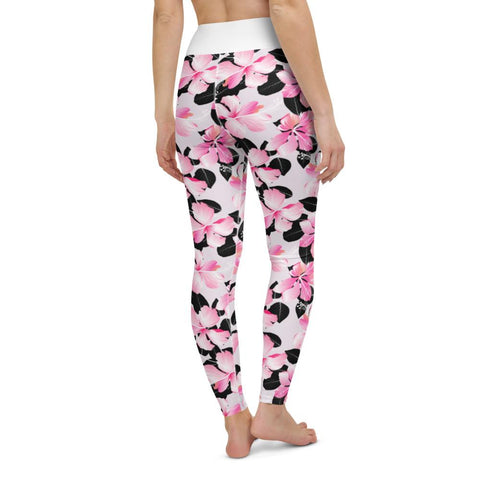 SunDawg Pink Hibiscus & Black Leaf Yoga Leggings