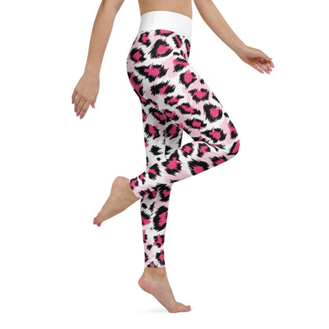 SunDawg Pink Snow Leopard Yoga Leggings