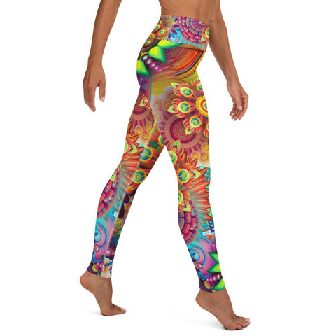 SunDawg Psychedelic Flowers Yoga Leggings