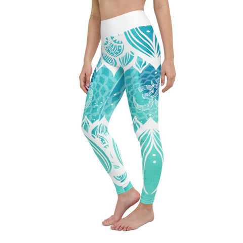 SunDawg Teal Lotus Ohm Yoga Leggings