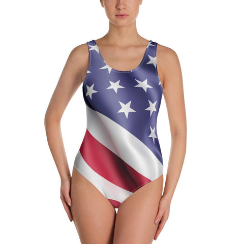 SunDawg XS American Flag One-Piece Swimsuit