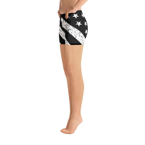 Image of SunDawg XS Black & White Grunge American Flag Shorts