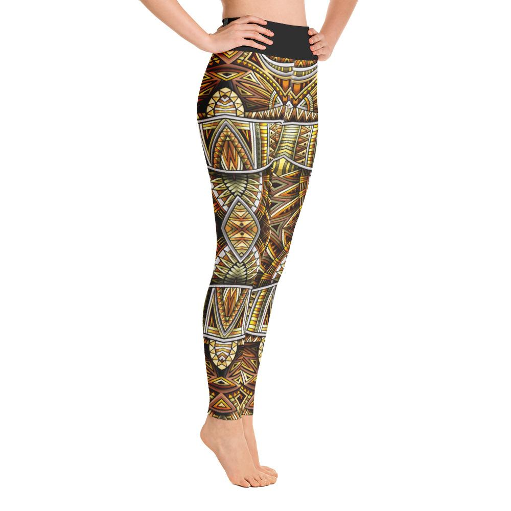 SunDawg XS Gold Tribal Yoga Leggings