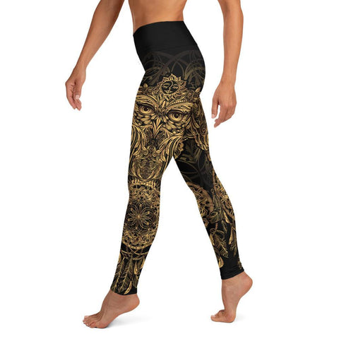 SunDawg XS Golden Ornamental Owl Yoga Leggings