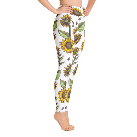 SunDawg XS Hand-drawn Sunflower Yoga Leggings