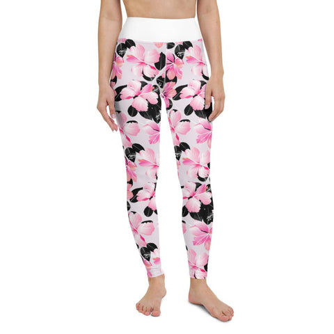 SunDawg XS Pink Hibiscus & Black Leaf Yoga Leggings