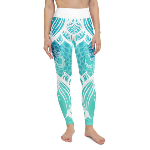 SunDawg XS Teal Lotus Ohm Yoga Leggings