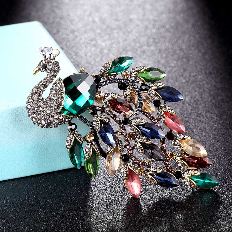 Gem Peacock Pin