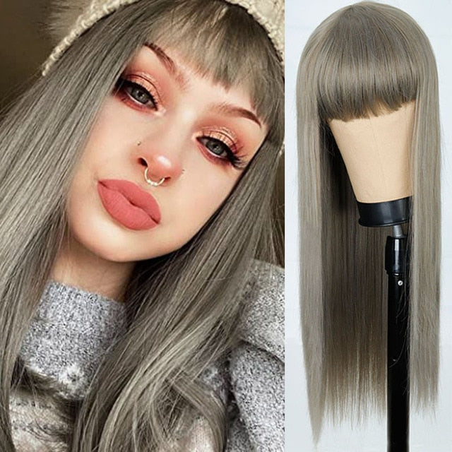Melissa Silver Straight Wig