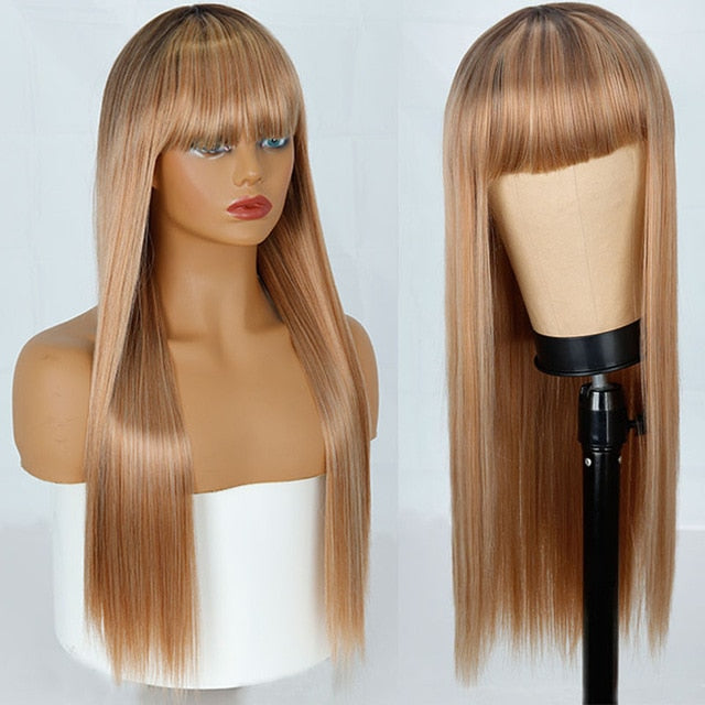 Shiny Brunette Straight Wig