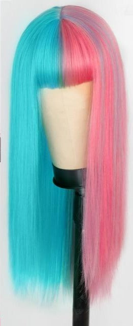 Pink & Light Blue Straight Wig