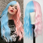 Pink & Light Blue Wavy Wig