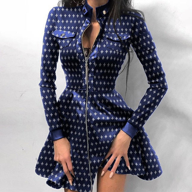 Zipper Royal Dress
