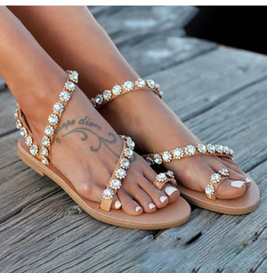 Boho Bling Crystal Sandals