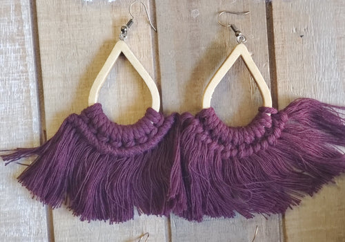 Wine Fringe Earrings