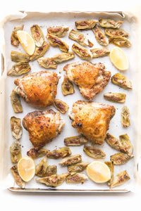 Whole30 + Keto Sheet Pan Greek Chicken Recipe + Video – crispy chicken thighs in a greek marinade + artichoke hearts