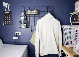 If you have a small laundry room, you know that you need to use all the space possible or it totally turns into a dumping zone! Our laundry room is a small box, with a washer, dryer, and a bunch of vents and heating ducts