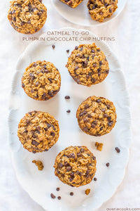 Oatmeal To-Go Pumpkin Chocolate Chip Muffins — These pumpkin chocolate chip muffins are essentially baked oatmeal bites with the perfect amount of pumpkin spice!! They're the perfect grab-and-go breakfast or snack!!