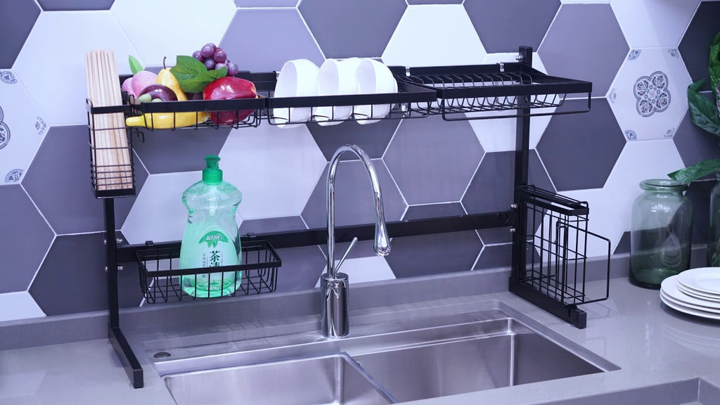 Organize your kitchen stuff and save space! Shop Veckle over the sink dish drying rack now: