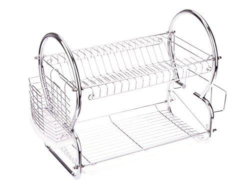 2 Tiers Stainless Steel Dish Rack Kitchen Cup Drying Rack Drainer Dryer Tray Cutlery Holder Organizer Ship From Usa