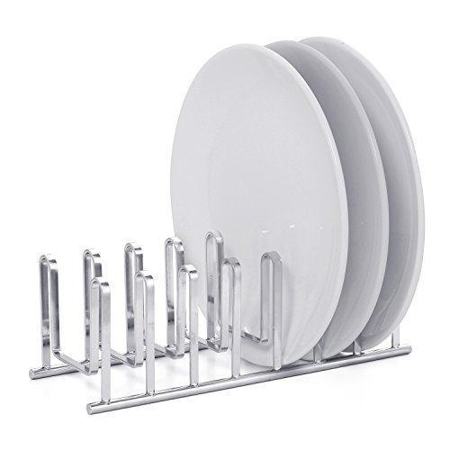 Mallize Compact Dish Drying Rack Holder, Cupboard 7 Slot Plate Storage Organizer, Silver