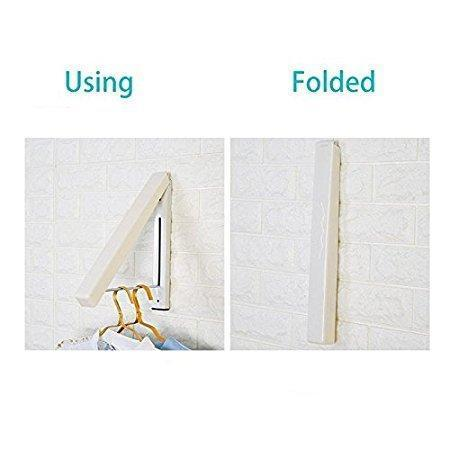 Folding Clothes Hanger Wall Mounted Retractable Clothes Hanger & Drying Rack Great Space Saver for Laundry Room, Attic, Garage, Indoor & Outdoor Use, Stainless Steel, Easy Installation #81258