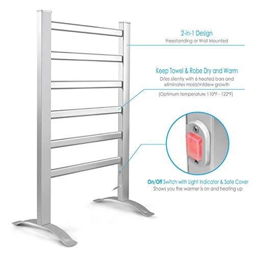 Amazon.com: INNOKA 2-in-1 Freestanding & Wall Mounted Heated Towel Warmer & Drying Rack (UL Certified), 6 Bars & Aluminum Frame: Gateway