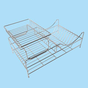 Sakura Two-tiers Compact Dish Rack / Kitchenware Dish Drying Rack / Dish Drainer with Removable Plastic Tray and Extendable Stainless Steel Drip Tray, Iron with Chrome Finished, Easy to Assemble
