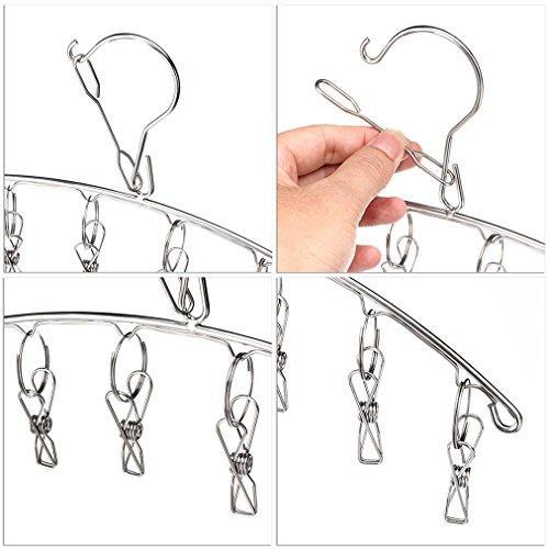 Mobivy Stainless Steel Laundry Drying Rack Clothes Hanger with Clips For Drying Socks,Drying Towels, Diapers, Bras, Baby Clothes,Underwear, Socks Gloves