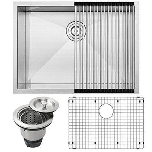 "26"" Ticor S3670 Pacific Series 16-Gauge Undermount Stainless Steel Single Bowl Zero Radius Square Kitchen Sink with Accessories"