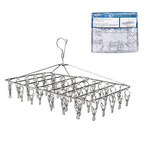 Rosefray 52 Clips Metal Clothespins, Folding Stainless Steel Clothes Drying Rack, Portable Metal Hanger, Great for Quick Hand Wash of Delicates