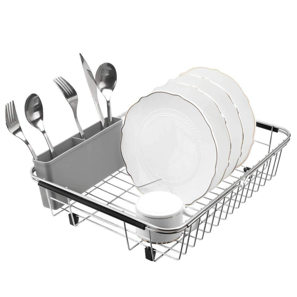 blitzlabs Dish Drying Rack Stainless Steel with Utensil Holder, Adjustable Handle Drying Basket, Storage Organizer for Kitchen, Over or in Sink, on Countertop Dish Drainer, Grey