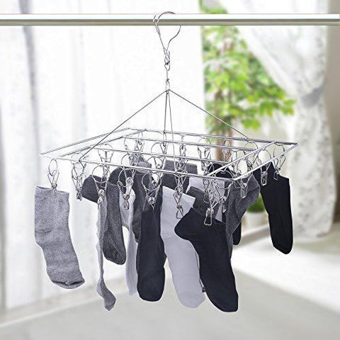 Mobivy Metal Clothespins, Stainless Steel Clothes Drying Rack, Hats Rack, Portable Metal Hanger, Great for Quick Hand Wash of Delicates