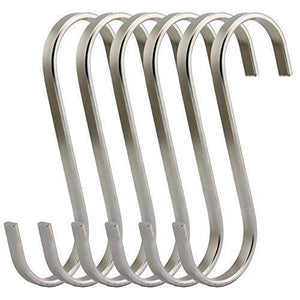 RuiLing Premium 6 Pack Size X-Large Brushed Stainless Flat S Hooks Kitchen Pot Pan Hanger Clothes Storage Rack.