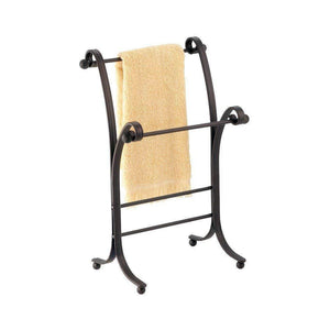 "InterDesign York Metal Free-Standing Hand Towel Drying Rack for Master, Guest, Kids' Bathroom, Laundry Room, Kitchen, Holds Two, 9"" x 5.5"" x 13.5"", Bronze"