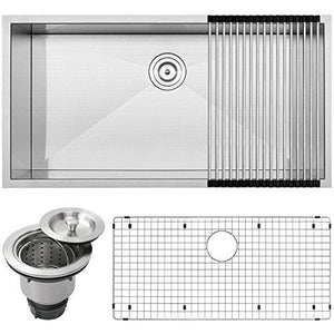 "36"" Ticor S3700 Pacific Series 16-Gauge Undermount Stainless Steel Single Bowl Zero Radius Square Kitchen Sink with Accessories"
