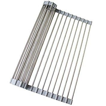 Ruvati RVA1340 Over-the-sink Roll-up Drying Rack Stainless Steel 20.5-inch by 13.5-inch-Kitchen Accessories-RVA1340-DirectSinks