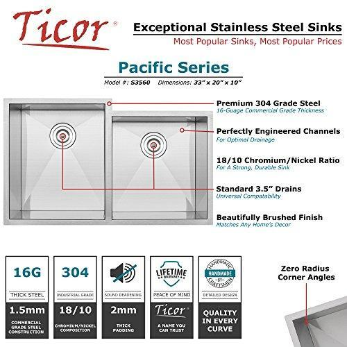 "33"" Ticor S3560 Pacific Series 16-Gauge Undermount Stainless Steel Double Bowl Zero Radius Square Kitchen Sink with Accessories"