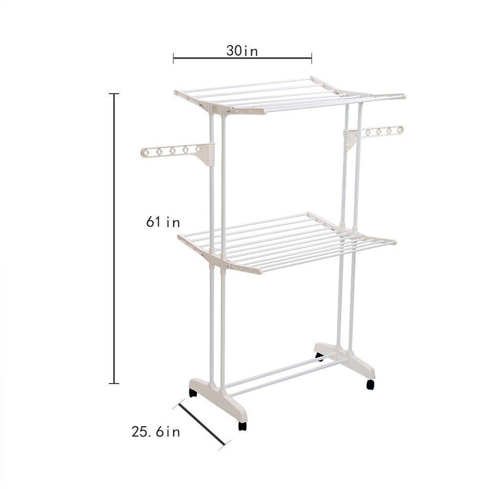 YUBELLES 2 Tier Rolling Clothes Drying Rack Collapsible Laundry Dryer Hanger Foldable Durable Hanging Rods Indoor & Outdoor Use White