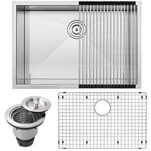 "28"" Ticor S3680 Pacific Series 16-Gauge Undermount Stainless Steel Single Bowl Zero Radius Square Kitchen Sink with Accessories"
