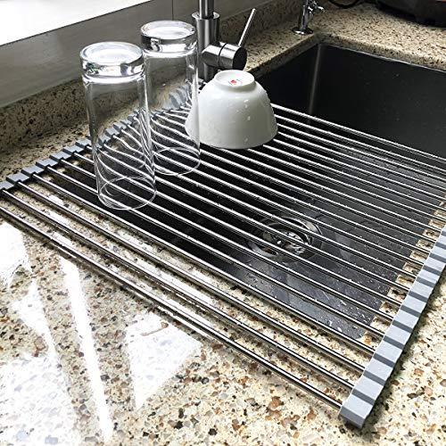 "17.7"" x 15.5"" Large Dish Drying Rack, Attom Tech Home Roll Up Dish Racks Multipurpose Foldable Stainless Steel Over Sink Kitchen Drainer Rack for Cups Fruits Vegetables"