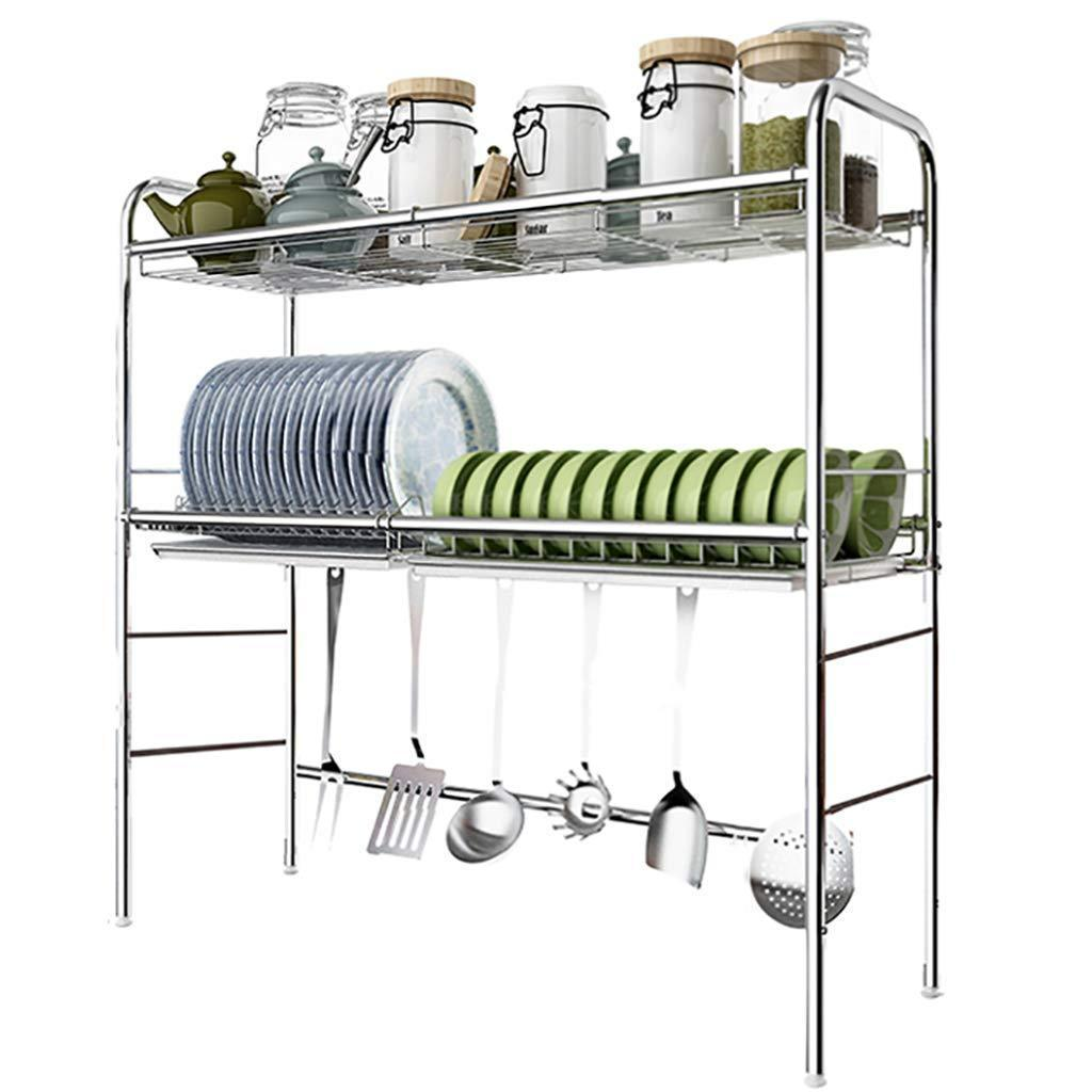 Dish Rack Over Sink Stainless Steel, 2-Tier Dish Drying Rack with Drain Board, Kitchen Shelves Free Standing Rack (5 (Size : 93cm × 28cm × 81m)