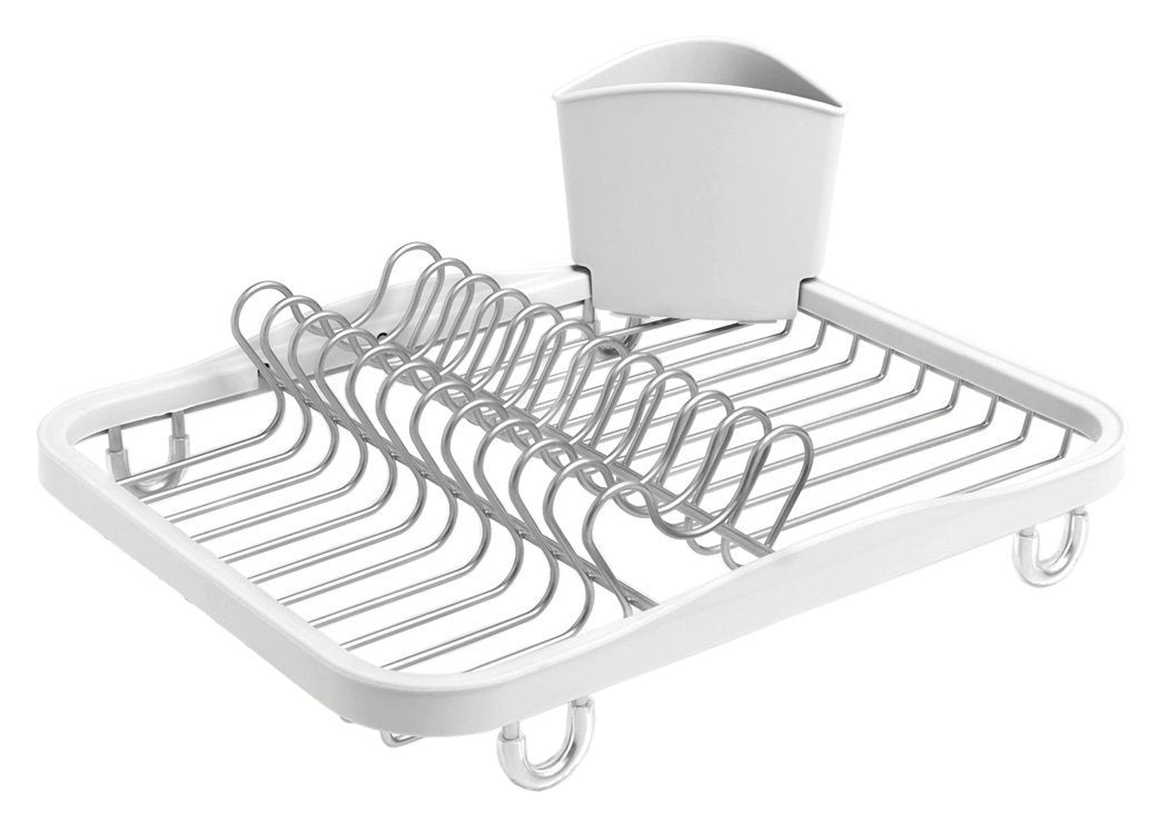 Umbra Sinkin Dish Drying Rack - Dish Drainer Kitchen Sink Caddy with Removable Cutlery Holder, Fits In Sink or on Countertop, White