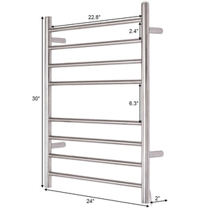 "24"" x 30"" Wall Mount Stainless Steel Polished Towel Warmer Drying Rack w/ 8 Bar Horizontal Pipe"
