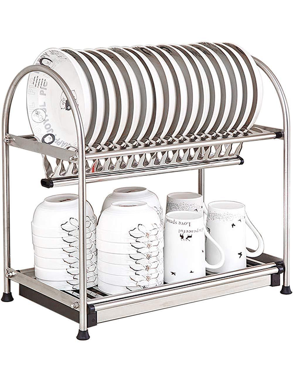 Kitchen Hardware Collection 2 Tier Dish Drying Rack Stainless Steel Stand On Countertop Draining Rack 17.9 Inch Length 16 Dish Slots Organizer with Drainboard for Cup Plate Bowl