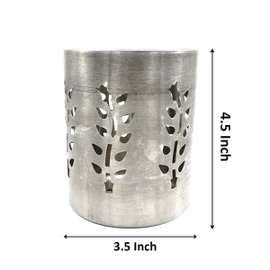 Stainless Steel Utensil Holder, Leaf Hole, Pen Holder, Brush Stand, Cutlery Storage Holder, Cutlery Holder For Table - Silver 4.5 Inch
