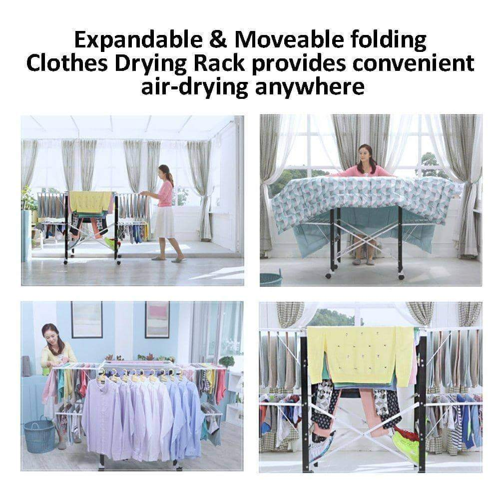 Newerlives BR808 Foldable Clothes Drying Rack, for Drying Big Items or Sweaters Tops and Pants, Heavy Duty, Indoor & Outdoor Use